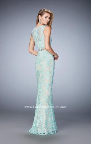 Picture of: Mock Neck Two Piece Dress with Sheer Detailing, Style: 22928, Back Picture