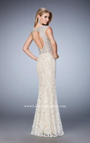 Picture of: Embellished Lace Prom Dress with Crystal Beading, Style: 22934, Back Picture