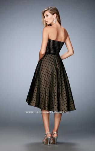 Picture of: Tea Length Dress with Polka Dots and Striped Bodice, Style: 22961, Back Picture