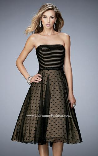 Picture of: Tea Length Dress with Polka Dots and Striped Bodice, Style: 22961, Detail Picture 1