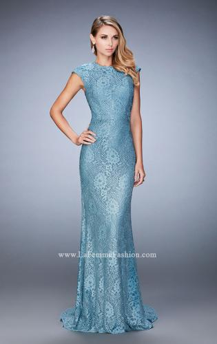 Picture of: Embellished Lace Evening Gown with Cap Sleeves, Style: 22971, Main Picture