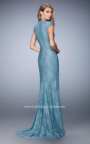 Picture of: Embellished Lace Evening Gown with Cap Sleeves, Style: 22971, Back Picture