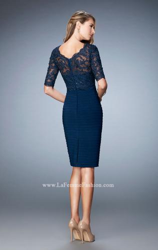 Picture of: Knee Length Dress with Bandage Skirt and Lace, Style: 22973, Back Picture