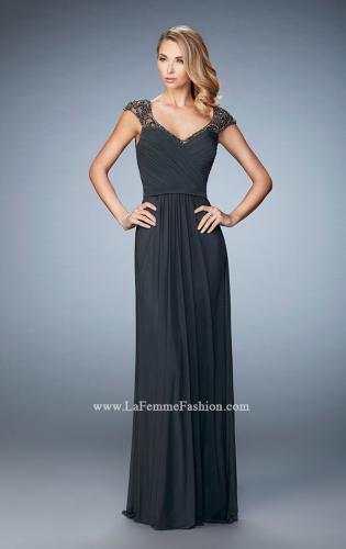 Picture of: Lace and Jeweled Prom Dress with Cap Sleeves, Style: 22974, Main Picture
