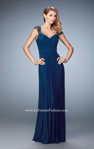 Picture of: Lace and Jeweled Prom Dress with Cap Sleeves, Style: 22974, Detail Picture 1