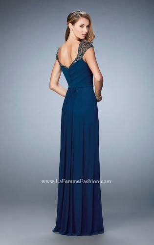 Picture of: Lace and Jeweled Prom Dress with Cap Sleeves, Style: 22974, Detail Picture 2