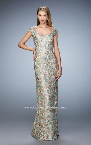 Picture of: Long Lace Evening Gown with Cap Sleeves, Style: 22984, Main Picture