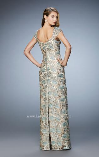 Picture of: Long Lace Evening Gown with Cap Sleeves, Style: 22984, Back Picture