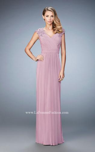 Picture of: Cap Sleeve Evening Gown with Pleats and Lace, Style: 23004, Main Picture