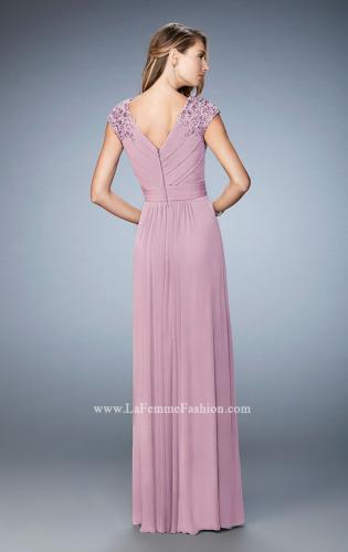 Picture of: Cap Sleeve Evening Gown with Pleats and Lace, Style: 23004, Back Picture
