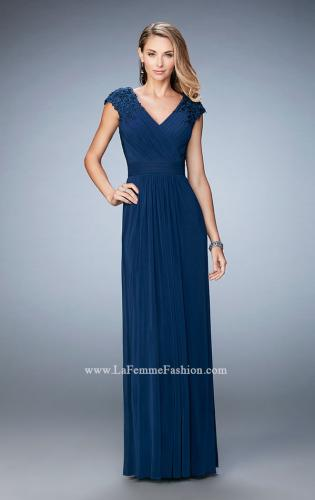Picture of: Cap Sleeve Evening Gown with Pleats and Lace, Style: 23004, Detail Picture 1