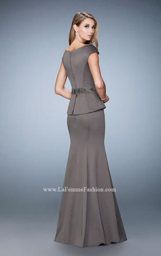 Picture of: Satin Peplum Evening Dress with Boat Neckline, Style: 23020, Back Picture