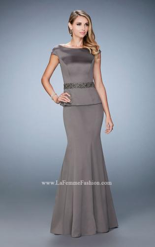 Picture of: Satin Peplum Evening Dress with Boat Neckline, Style: 23020, Detail Picture 1