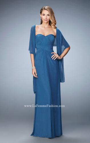 Picture of: Evening Gown with Pleated Bodice and Shawl, Style: 23023, Main Picture