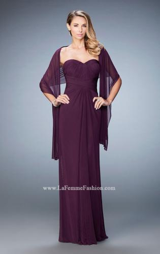 Picture of: Evening Gown with Pleated Bodice and Shawl, Style: 23023, Detail Picture 2