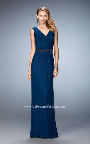 Picture of: Evening Gown with Cap Sleeves and Jeweled Belt, Style: 23024, Detail Picture 1