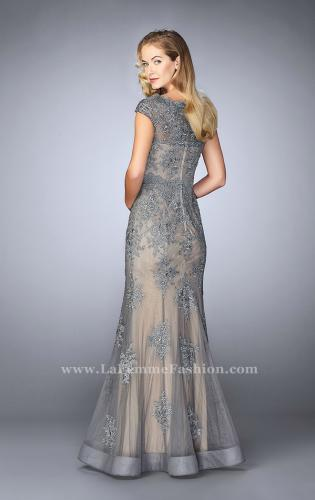 Picture of: Lace Mermaid Prom Dress with Scalloped Neckline, Style: 23059, Back Picture