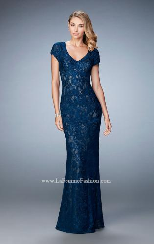 Picture of: Lace and Jewel Embroidered Gown with Short Sleeves, Style: 23071, Main Picture