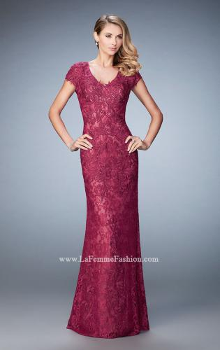 Picture of: Lace and Jewel Embroidered Gown with Short Sleeves, Style: 23071, Detail Picture 1