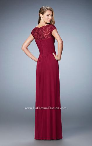 Picture of: Embroidered Lace Evening Gown with Pleated Bodice, Style: 23077, Back Picture