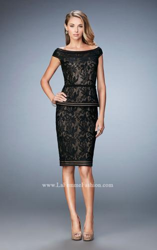 Picture of: Cap Sleeve Lace Cocktail Dress with Peplum Bodice, Style: 23080, Main Picture