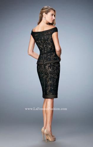 Picture of: Cap Sleeve Lace Cocktail Dress with Peplum Bodice, Style: 23080, Back Picture