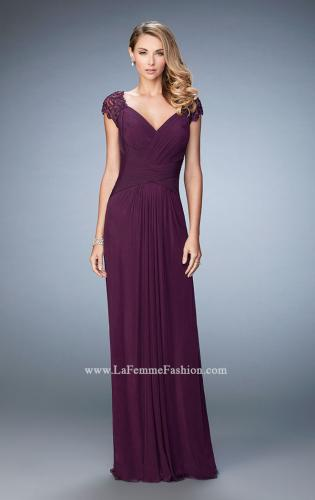 Picture of: Lace Cap Sleeve Dress with Open Back, Style: 23084, Main Picture