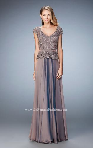 Picture of: Chiffon Evening Dress with Fitted Belt, Style: 23085, Detail Picture 1
