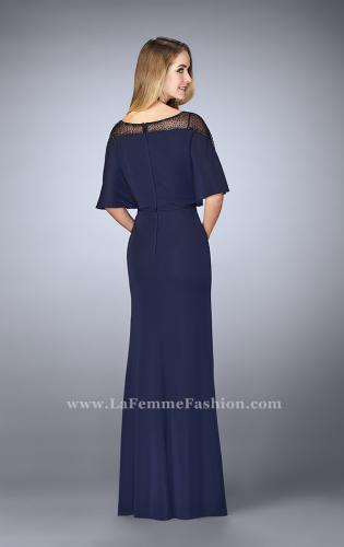 Picture of: Sheer Beaded Evening Dress with Faux Cape, Style: 23113, Back Picture