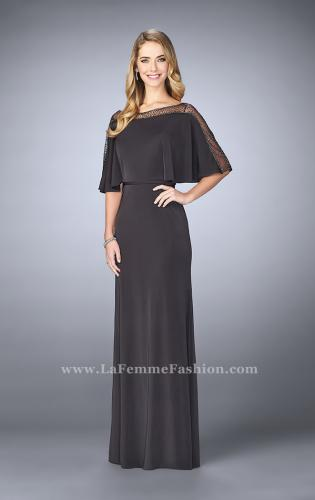 Picture of: Sheer Beaded Evening Dress with Faux Cape, Style: 23113, Detail Picture 1
