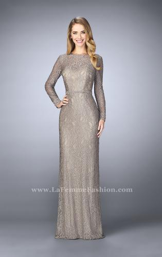 Picture of: Long Sleeve Lace Dress with Beaded Belt and Cuffs, Style: 23115, Main Picture