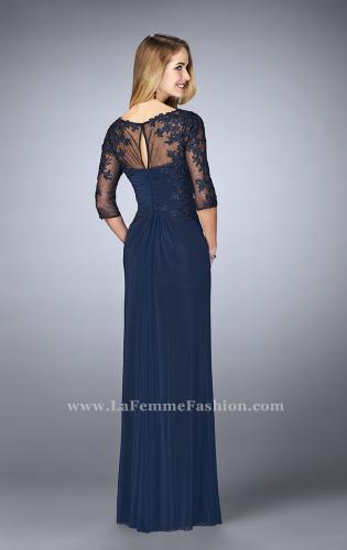 Picture of: 3/4 Sleeve Evening Dress with Lace Accents, Style: 23118, Back Picture