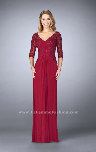 Picture of: 3/4 Sleeve Evening Dress with Lace Accents, Style: 23118, Detail Picture 1