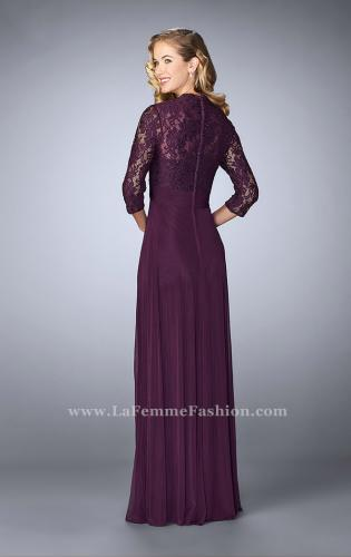 Picture of: Classic Jersey Evening Gown with 3/4 Sleeves, Style: 23139, Back Picture