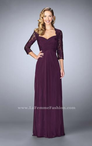 Picture of: Classic Jersey Evening Gown with 3/4 Sleeves, Style: 23139, Detail Picture 1
