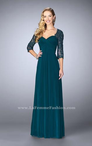 Picture of: Long Evening Gown with 3/4 Sleeves and Empire Waist, Style: 23141, Main Picture