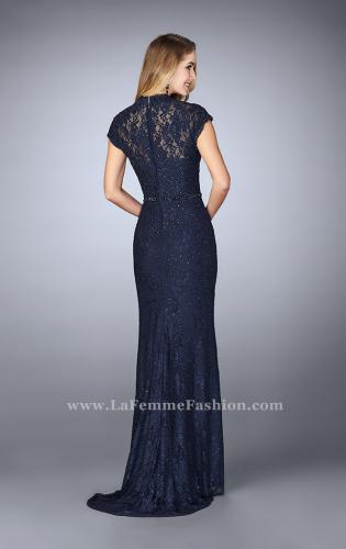 Picture of: Stretch Lace Gown with Sheer Lace Detailing, Style: 23148, Back Picture