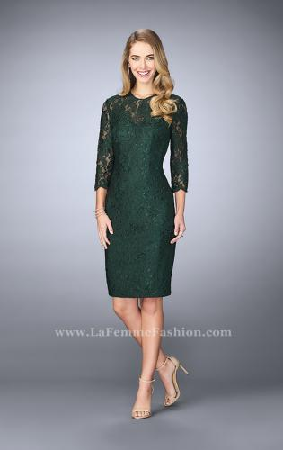 Picture of: Knee Length Lace Dress with 3/4 Sleeves, Style: 23149, Main Picture