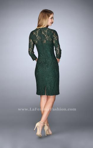 Picture of: Knee Length Lace Dress with 3/4 Sleeves, Style: 23149, Back Picture