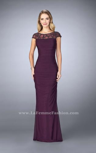 Picture of: Net Jersey Dress with Beading and Sheer Neckline, Style: 23215, Main Picture