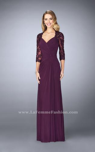 Picture of: Jersey Gown with Knot Detail and Lace Sleeves, Style: 23244, Detail Picture 2