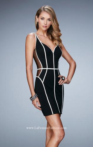 Picture of: Black Jersey Dress with Illusion Mesh Sides, Style: 23254, Main Picture