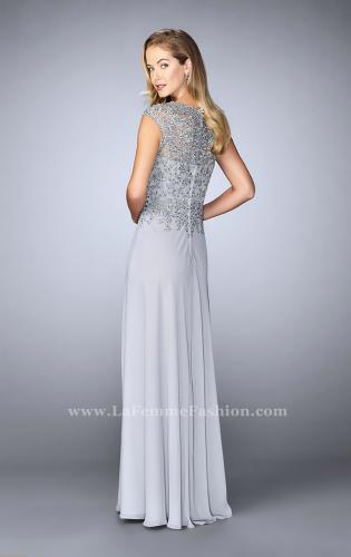 Picture of: Cap Sleeve Beaded Lace Evening Gown, Style: 23286, Back Picture