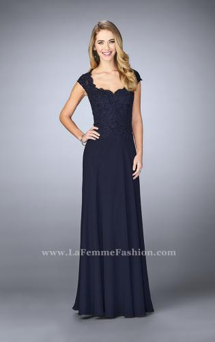 Picture of: Cap Sleeve Beaded Lace Evening Gown, Style: 23286, Detail Picture 1