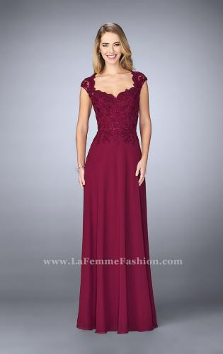 Picture of: Cap Sleeve Beaded Lace Evening Gown, Style: 23286, Detail Picture 2