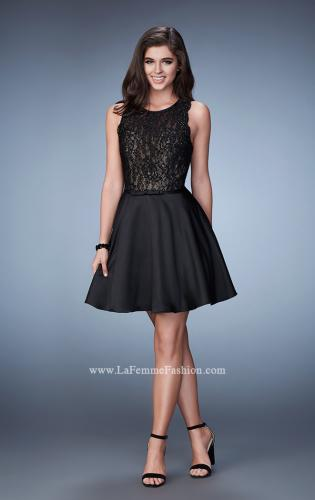 Picture of: Lace Evening Dress with Satin A-Line Skirt, Style: 23308, Detail Picture 1