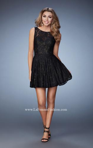 Picture of: Lace Homecoming Dress with High Neck and Full Skirt, Style: 23315, Detail Picture 1
