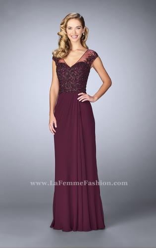 Picture of: Sheer Cap Sleeve Crepe Jersey Gown, Style: 23316, Detail Picture 1