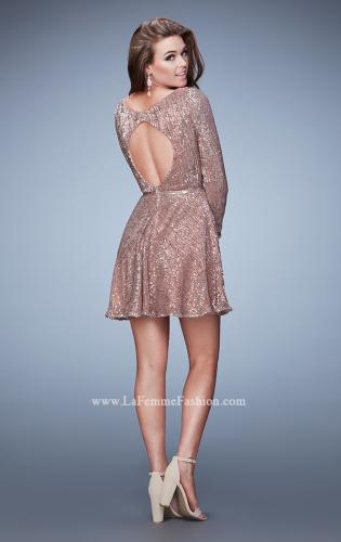 Picture of: Long Sleeve Short Sequin Homecoming Dress, Style: 23321, Back Picture
