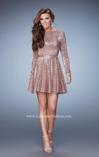 Picture of: Long Sleeve Short Sequin Homecoming Dress, Style: 23321, Detail Picture 1